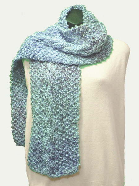 Knitting Pattern For Waterfall Scarf : SarongsEtc.com - Hand-Knit, Soft and Warm, Cozy Cable Scarves