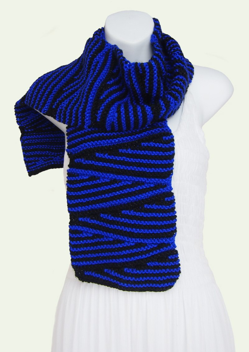 caron simply soft wedges zig zag black and blue party scarf
