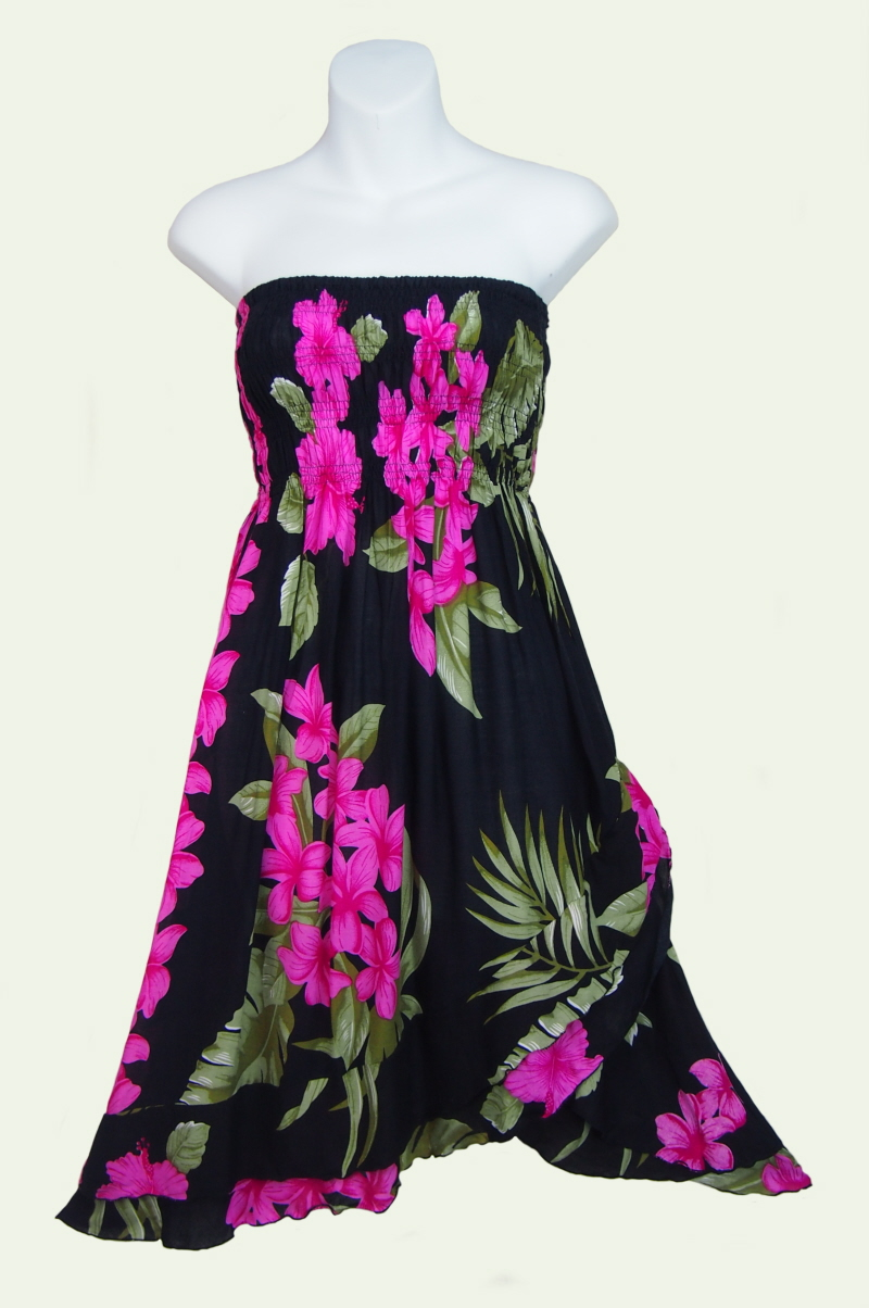 Sarongsetc black hibiscus and orchid sun dressskirt black strapless shirred sun dress with hibiscus and orchid flowers izmirmasajfo